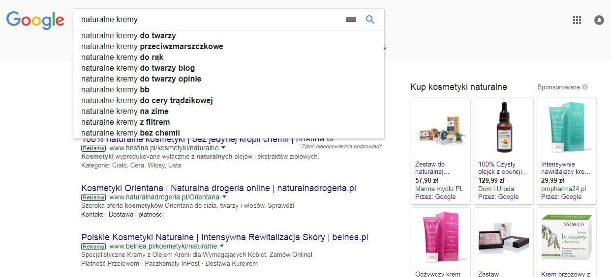 Podpowiedzi Google'a w wynikach wyszukiwania