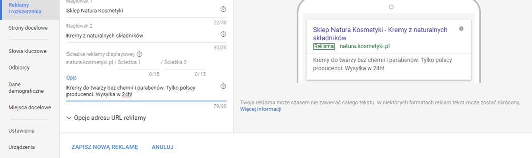 Zapisanie nowej reklamy Google AdWords