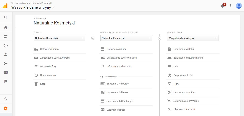 Zarządzanie użytkownikami w menu Google Analytics