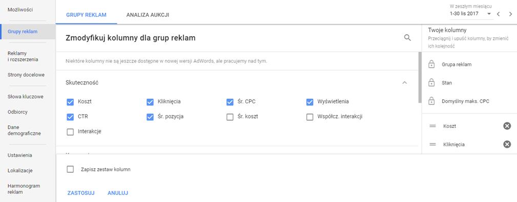 Zaznaczenie kolumn w Google AdWords
