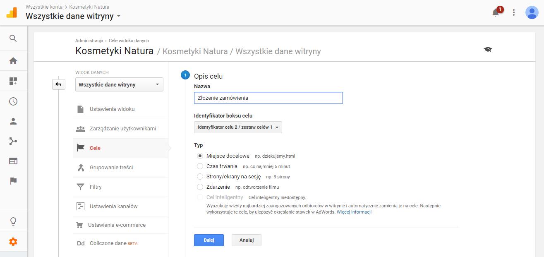 Złożenie zamówienia - cel w Google Analytics